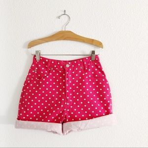 "Vintage high waisted hot pink polka dots 25"" waist"